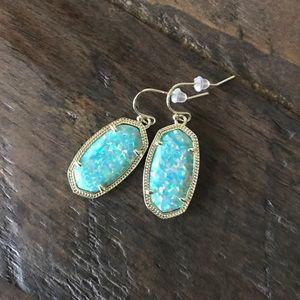 Kendra Scott Dani Gold Drop Aqua Kyocera Earrings